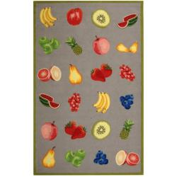 Hand-hooked Chelsea Fruits Grey Wool Rug (8'9 x 11'9)