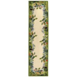 Hand-hooked Chelsea Jungle Beige Wool Rug (2'6 x 6')