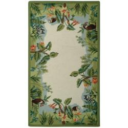Hand-hooked Chelsea Jungle Beige Wool Rug (2'9 x 4'9)