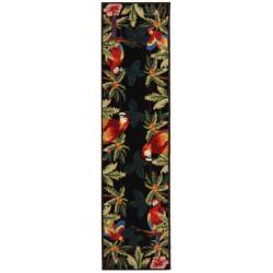 Hand-hooked Parrots Black Wool Rug (2'6 x 6')