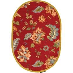Safavieh Hand-hooked Botanical Red Wool Rug (7'6 x 9'6 Oval)