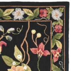 Hand-hooked Chelsea Gardens Black Wool Rug (2'6 x 8')