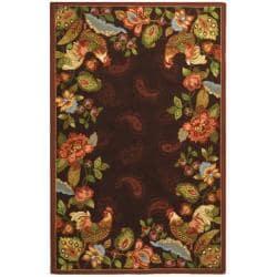 Hand-hooked Chelsea Roosters Maroon Wool Rug (5'3 x 8'3)