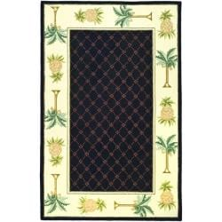 Hand-hooked Pineapples Black Wool Rug (3'9 x 5'9)