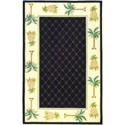 Hand-hooked Pineapples Black Wool Rug (8'9 x 11'9)