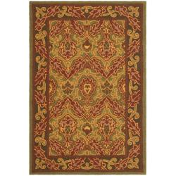 Contemporary Hand-Hooked Chelsea Green Wool Rug (3'9 x 5'9)
