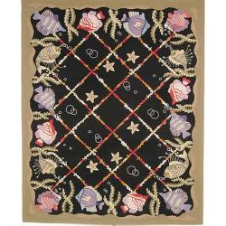 Hand-hooked Gold Fish Black Wool Rug (8'9 x 11'9)