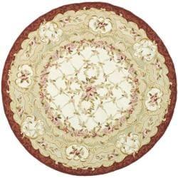 Safavieh Hand-hooked Aubusson Ivory/ Burgundy Wool Rug (3' Round)