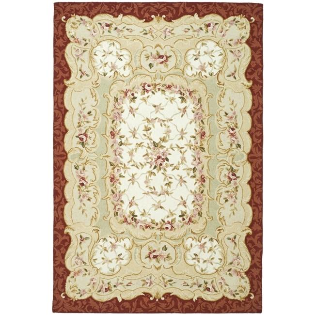 Safavieh Hand-hooked Aubusson Ivory/ Burgundy Wool Rug (8'9 x 11'9)