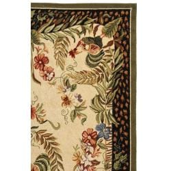 Hand-hooked Rooster and Hen Cream/ Black Wool Rug (8'9 x 11'9)