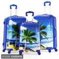 Olympia Palm Beach 3-piece Printed Hardside Spinner Luggage Set