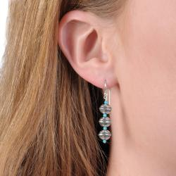 Tressa Sterling Silver Genuine Turquoise Earrings