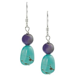Tressa Silver Genuine Turquoise and Spurite Handcrafted Earrings