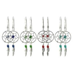 Tressa Sterling Silver Bead Dreamcatcher Hand Crafted Earrings