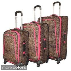 Rockland Deluxe Leopard 3-piece Spinner Luggage Set