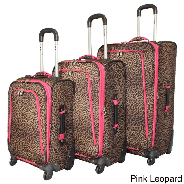 Rockland Deluxe Leopard 3-piece Upright Spinner Luggage Set