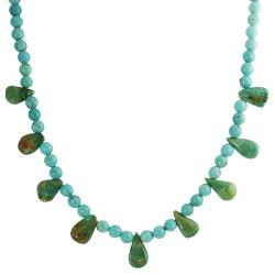 Tressa Sterling Silver Genuine Blue Green Turquoise Necklace