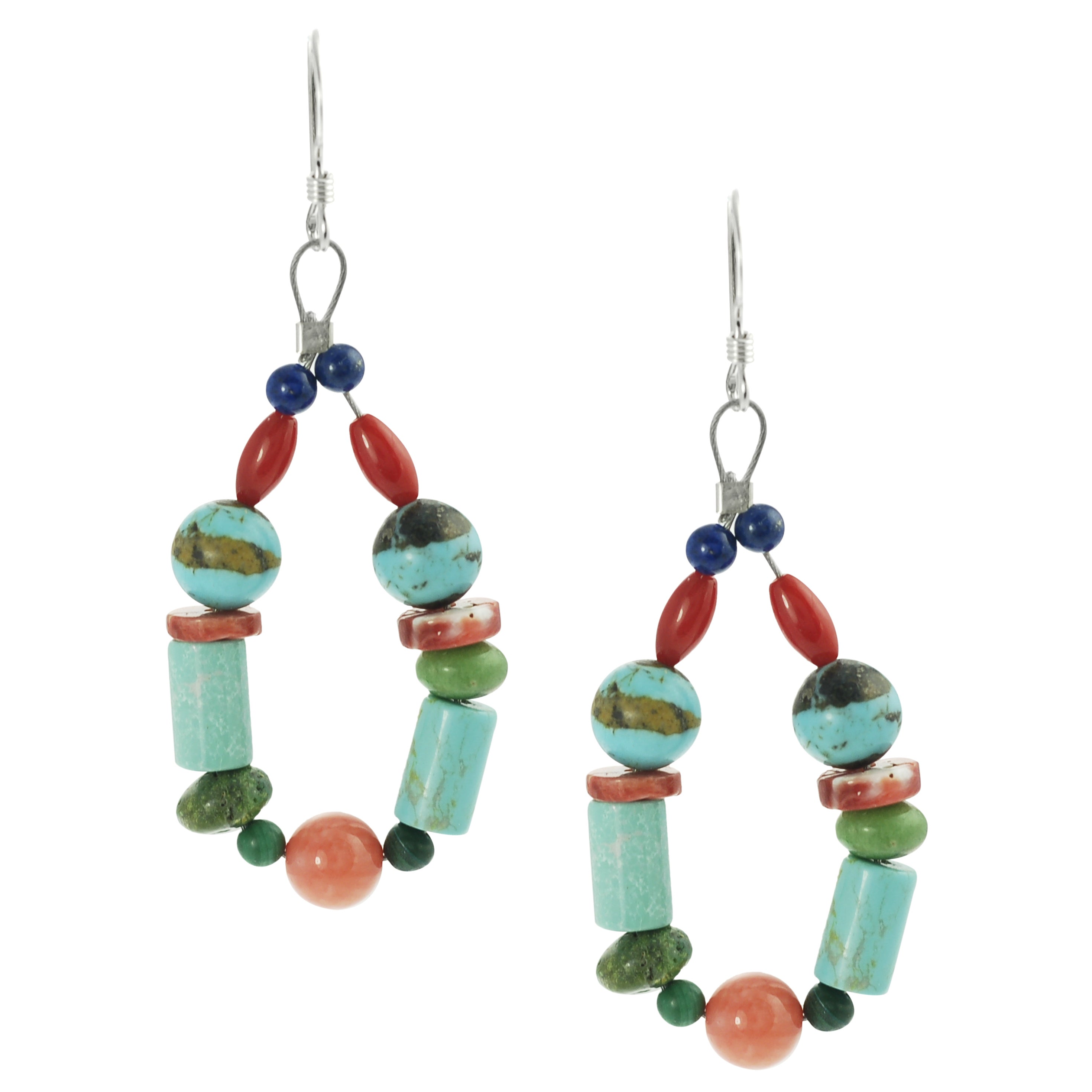 Journee Collection Sterling Silver Genuine Turquoise Lapis Coral Bead Earrings
