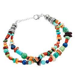 Journee Collection Silver Turquoise, Coral, Lapis and Spiny Oyster Shell Bracelet