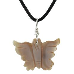 Tressa Sterling Silver Pink Mother of Pearl Butterfly Necklace