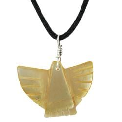 Tressa Sterling Silver Yellow Mother of Pearl Bird Necklace