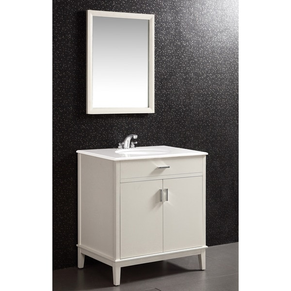 oxford white 30 inch bath vanity with 2 doors and white