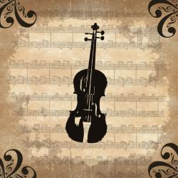 Ankan 'Violin' Contemporary Gallery-Wrapped Canvas Art