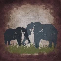 Ankan 'Vintage Elephants' Gallery-wrapped Canvas Art