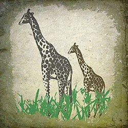 Ankan 'Vintage Giraffes' Large Gallery-Wrapped Canvas Art
