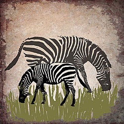 Ankan 'Vintage Zebras' Gallery-wrapped Canvas Art
