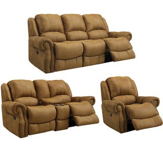 Buckskin Brown Reclining Sofa, Loveseat and Recliner/ Glider Chair