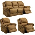 Buckskin Brown Reclining Sofa and Two Recliner/ Glider Chairs