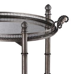 Antique Silver Finish Double Tray Table with Mirrored Tops