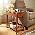 Walnut Wooden Chair Side End Table with Drawer