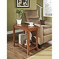 Walnut Trapeziod Wooden Chair Side End Table