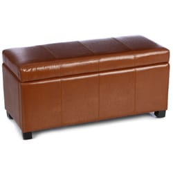 Warehouse of Tiffany Toffee Brown Faux Leather Ariel Storage Bench