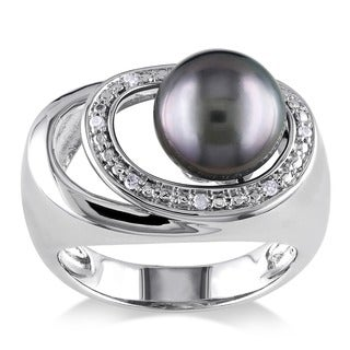 Miadora Sterling Silver Tahitian or FW Pearl and Diamond Accent Ring (9-9.5 mm)
