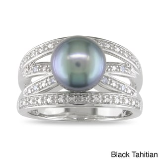Miadora Silver Tahitian or FW Pearl and Diamond Accent Ring (9-9.5 mm)