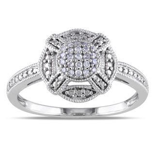 Miadora 10k White Gold 1/10ct TDW Round-cut Diamond Ring (G-H, I1-I2)