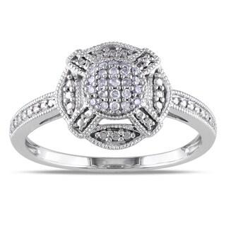 Miadora 10k White Gold 1/10ct TDW Round-cut Diamond Ring (G-H, I1-I2)