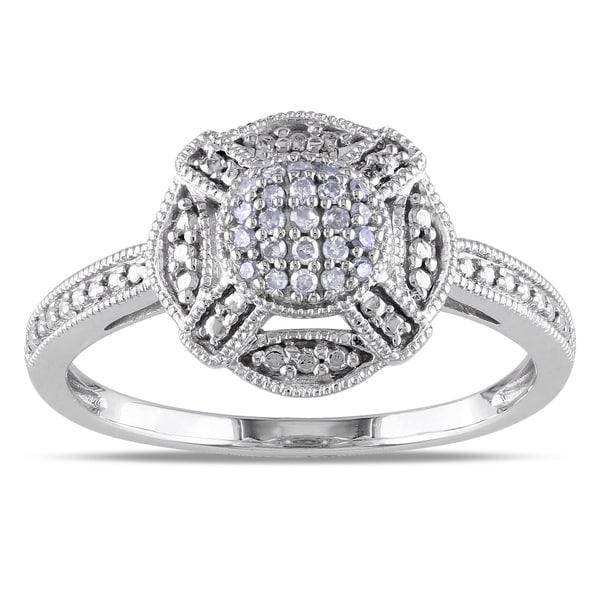 Haylee Jewels 10k White Gold 1/10ct TDW Round-cut Diamond Ring (G-H, I1-I2)