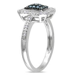 Miadora Silver 1/4ct TDW Blue and White Diamond Halo Ring (G-H, I1-I2)
