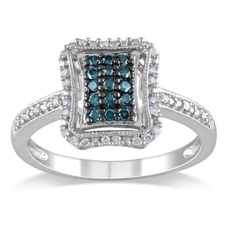 Haylee Jewels Silver 1/4ct TDW Blue and White Diamond Halo Ring (G-H, I1-I2)