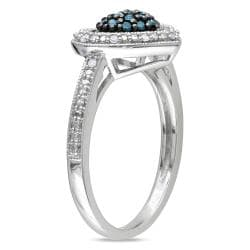 M by Miadora Silver 1/4ct TDW Blue and White Diamond Heart Ring (G-H, I1-I2)
