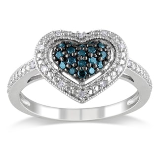 Haylee Jewels Silver 1/4ct TDW Blue and White Diamond Heart Ring (G-H, I1-I2)