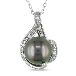Miadora Silver Black Tahitian Pearl and Diamond Necklace (9-9.5 mm)