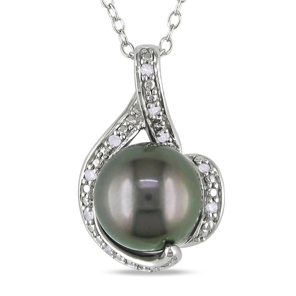 Miadora Silver Black Tahitian Pearl and Diamond Necklace (9-9.5 mm)