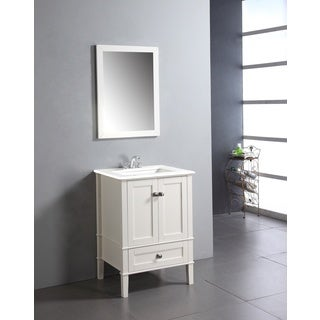 Windham Soft White 24-inch Bath Vanity with 2 Doors, Bottom Drawer and White Quartz Marble Top