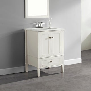 WYNDENHALL Windham Soft White 24-inch Bath Vanity with 2 Doors, Bottom Drawer and White Quartz Marble Top