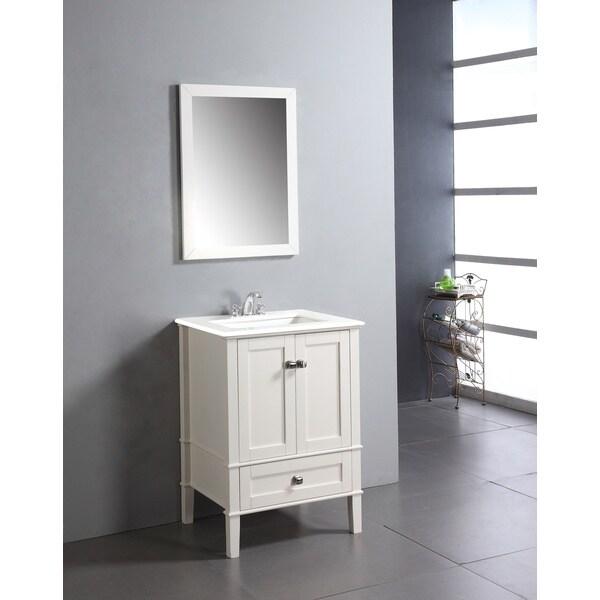 WYNDENHALL Windham Soft White 24 Inch Bath Vanity With 2